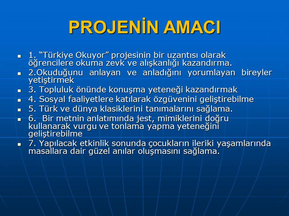 PROJENİN AMACI 1. Türkiye Okuyor projesinin bir uzantısı olarak öğrencilere okuma zevk ve alışkanlığı kazandırma.