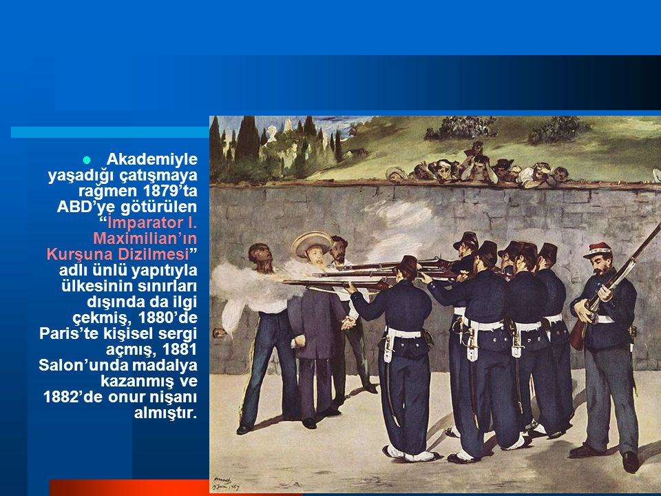 Akademiyle yaşadığı çatışmaya rağmen 1879'ta ABD'ye götürülen İmparator I.
