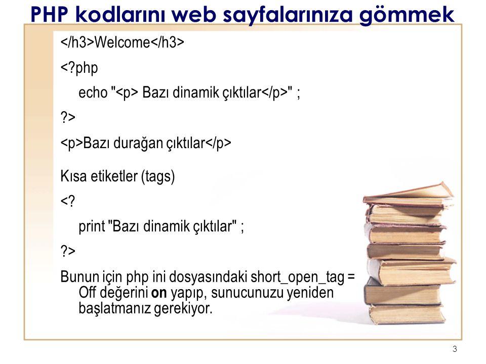 PHP kodlarını web sayfalarınıza gömmek