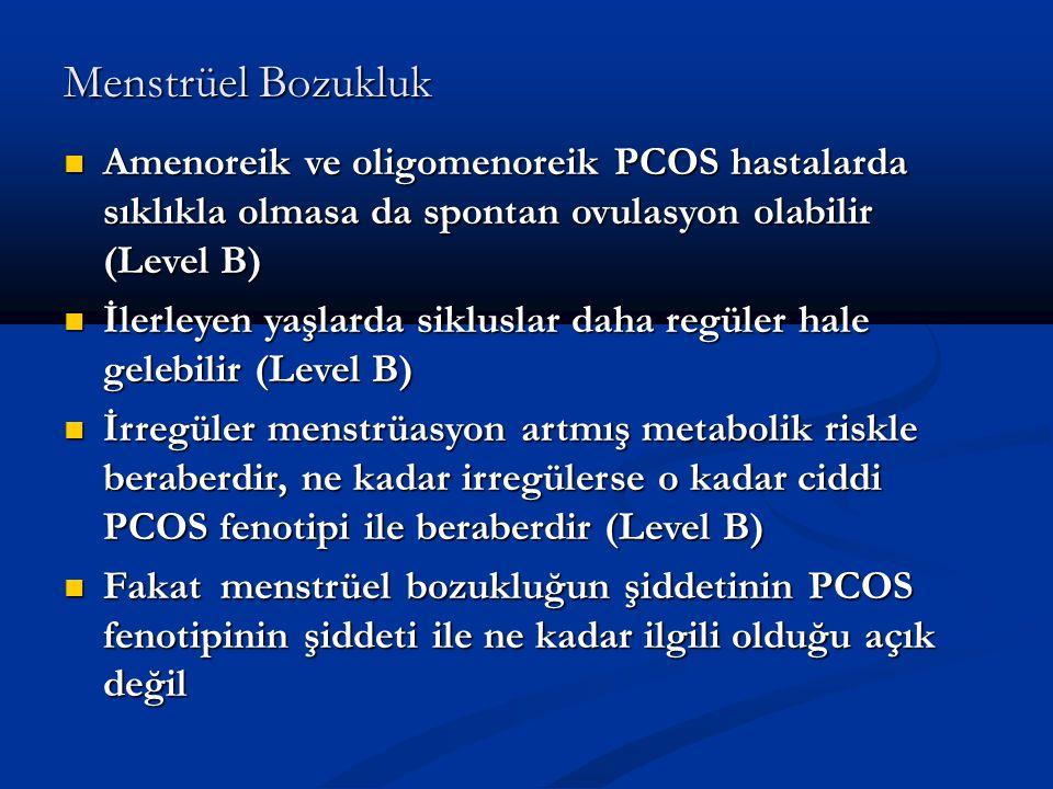 Menstrüel Bozukluk Amenoreik ve oligomenoreik PCOS hastalarda sıklıkla olmasa da spontan ovulasyon olabilir (Level B)