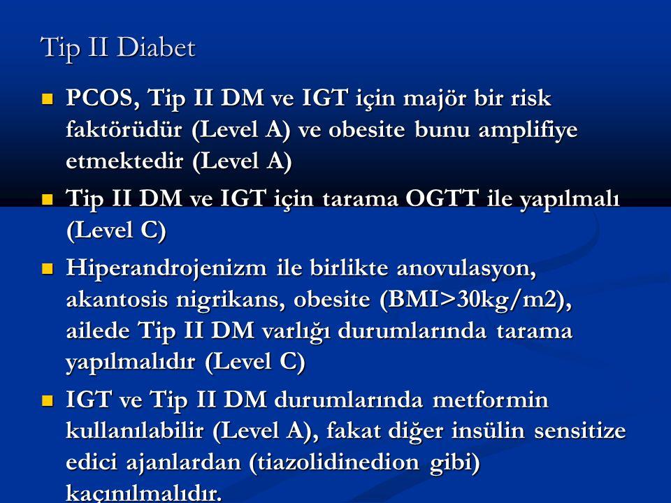 Tip II Diabet PCOS, Tip II DM ve IGT için majör bir risk faktörüdür (Level A) ve obesite bunu amplifiye etmektedir (Level A)
