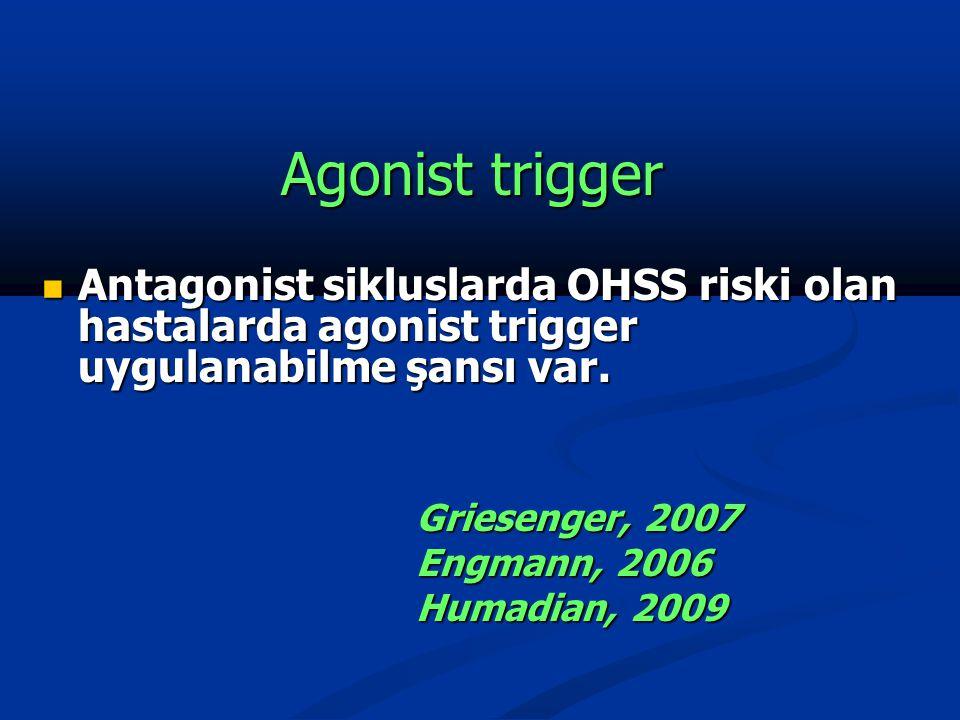 Agonist trigger Antagonist sikluslarda OHSS riski olan hastalarda agonist trigger uygulanabilme şansı var.