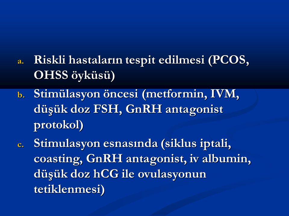 Riskli hastaların tespit edilmesi (PCOS, OHSS öyküsü)
