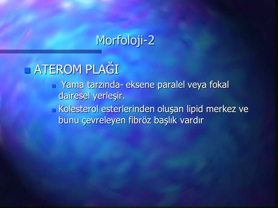 Morfoloji-2 ATEROM PLAĞI