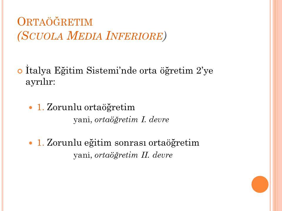 Ortaöğretim (Scuola Media Inferiore)