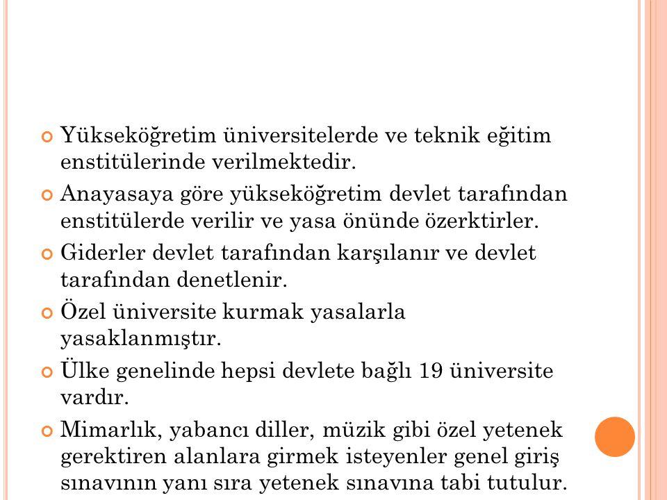 Yükseköğretim üniversitelerde ve teknik eğitim enstitülerinde verilmektedir.
