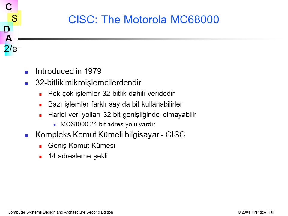 CISC: The Motorola MC68000 Introduced in 1979