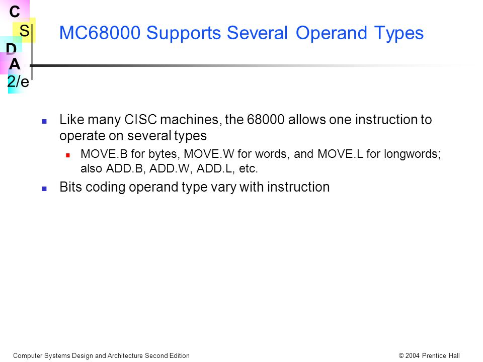 MC68000 Supports Several Operand Types