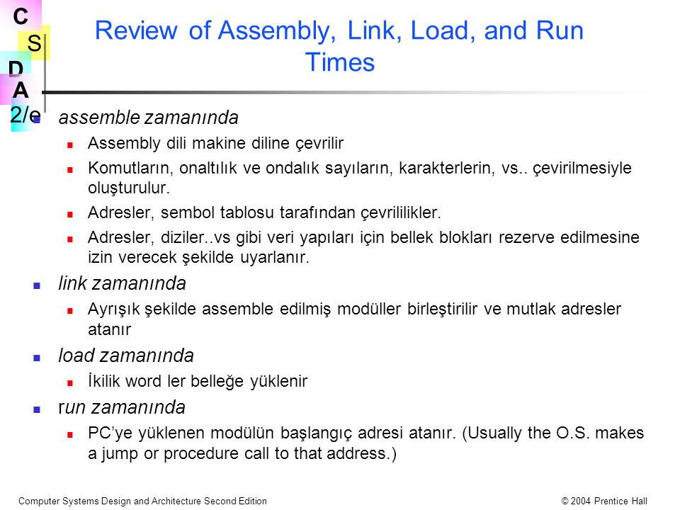 Review of Assembly, Link, Load, and Run Times