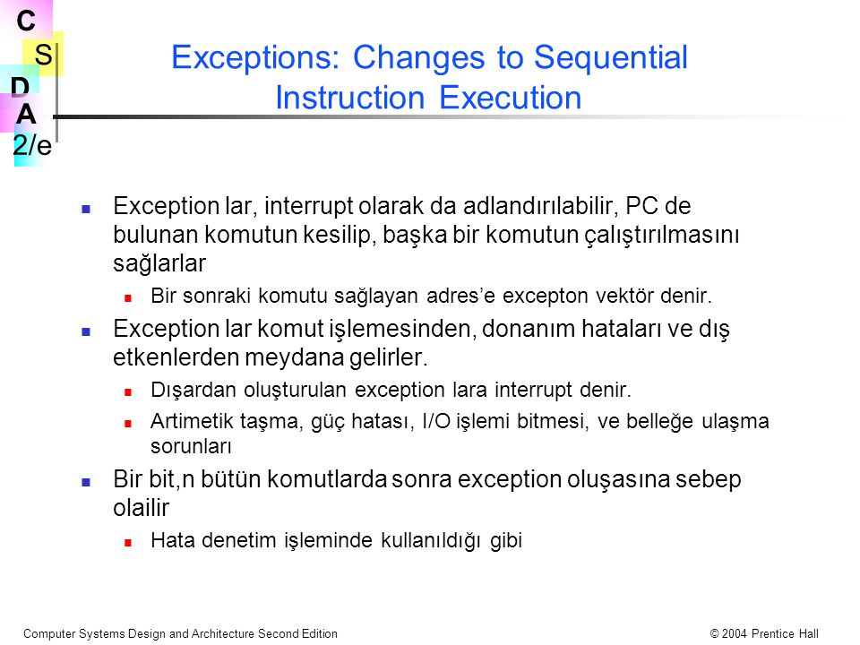 Exceptions: Changes to Sequential Instruction Execution
