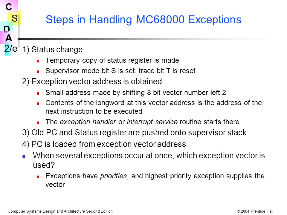 Steps in Handling MC68000 Exceptions