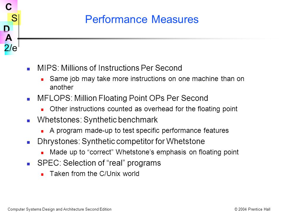 Performance Measures MIPS: Millions of Instructions Per Second