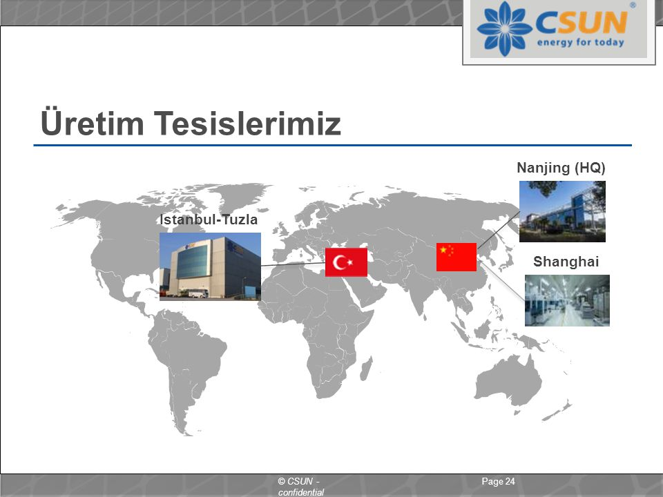 Üretim Tesislerimiz Nanjing (HQ) Istanbul-Tuzla Shanghai