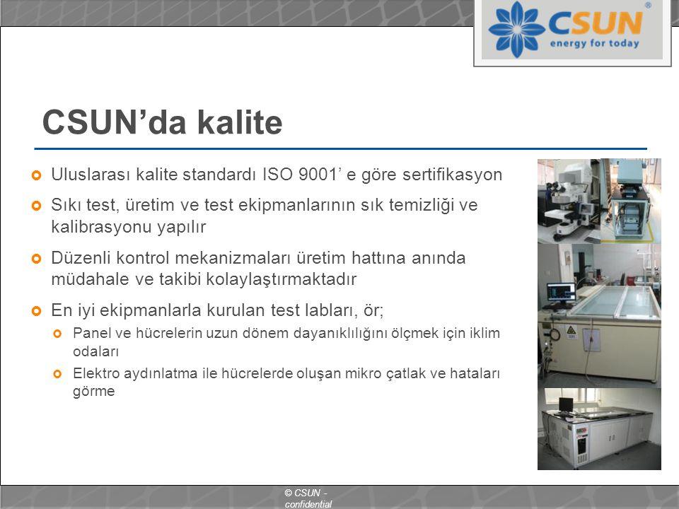 CSUN'da kalite Uluslarası kalite standardı ISO 9001' e göre sertifikasyon.