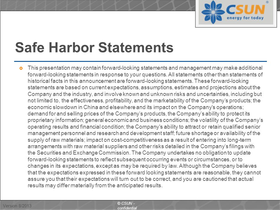 Safe Harbor Statements