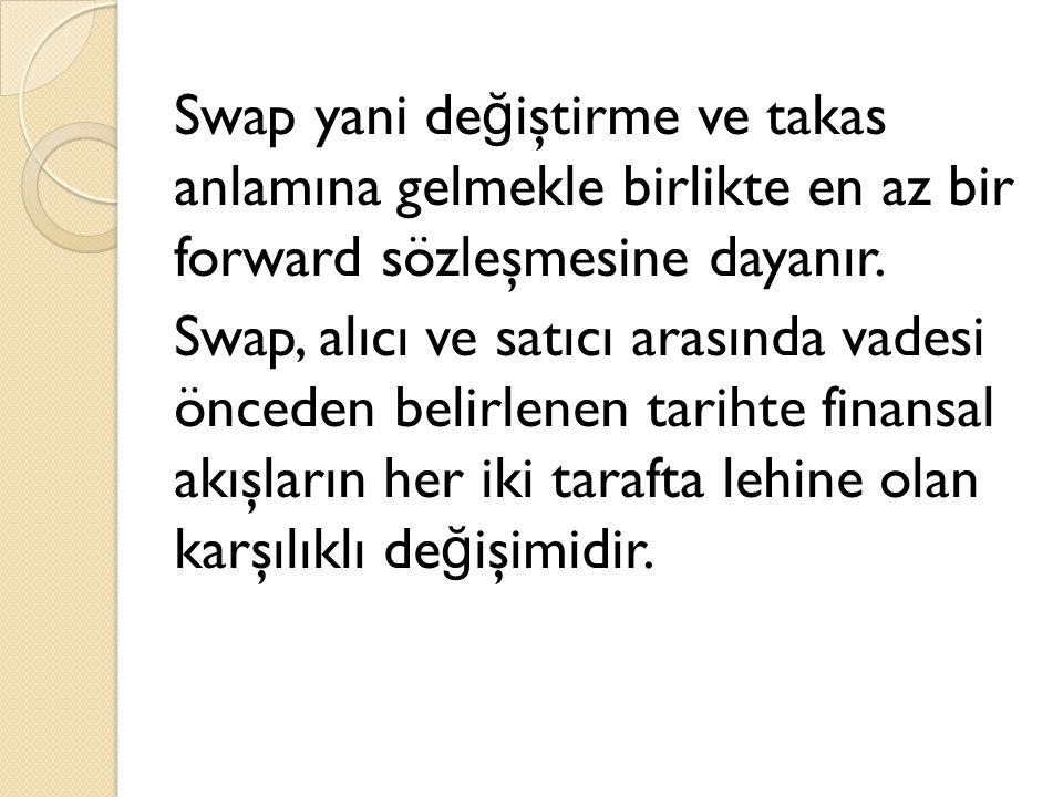 Swap yani değiştirme ve takas anlamına gelmekle birlikte en az bir forward sözleşmesine dayanır.