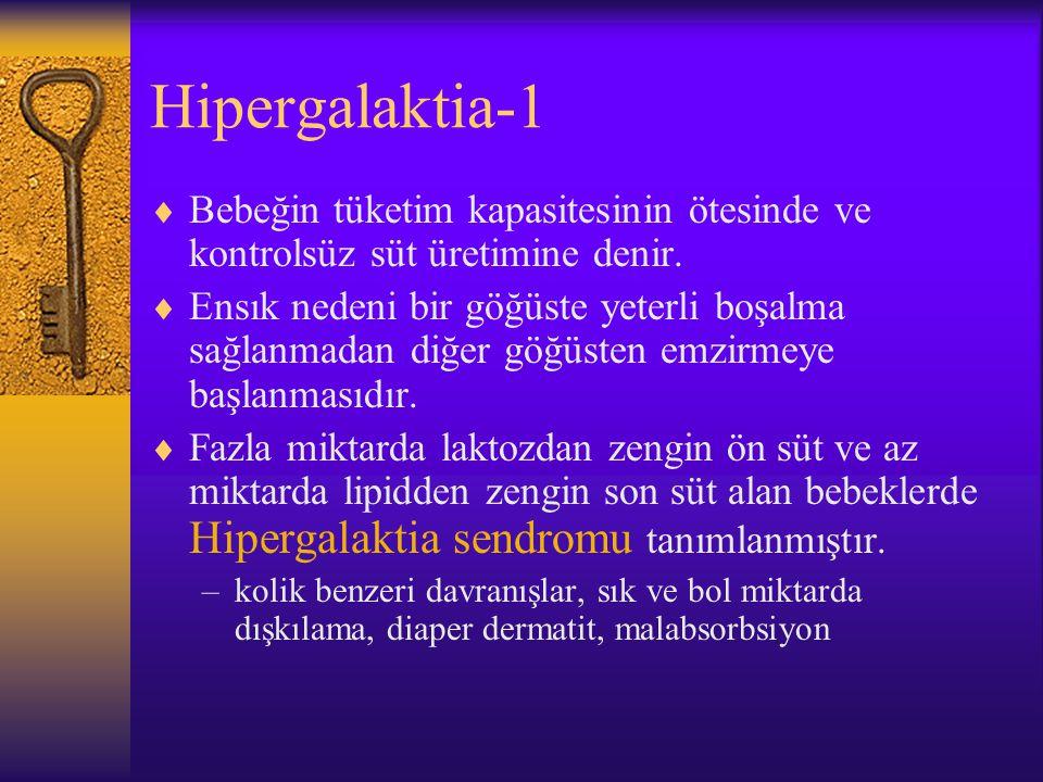 Hipergalaktia-1 Bebeğin tüketim kapasitesinin ötesinde ve kontrolsüz süt üretimine denir.
