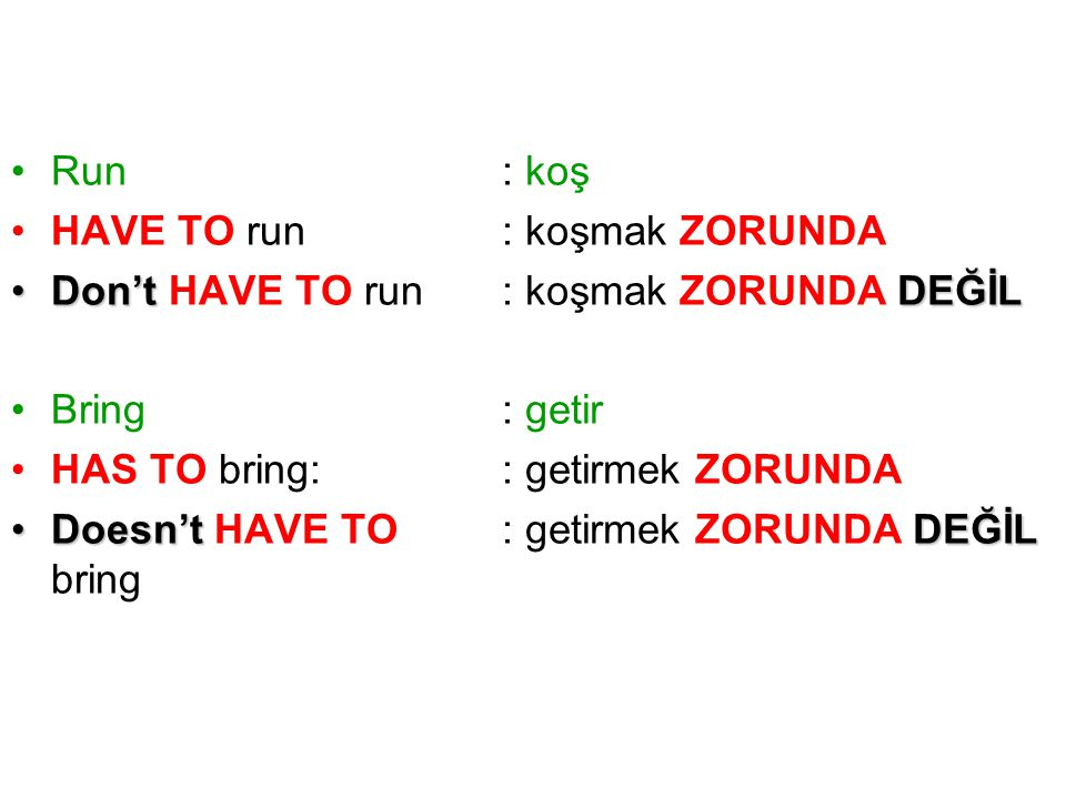 Run HAVE TO run. Don't HAVE TO run. Bring. HAS TO bring: Doesn't HAVE TO bring. : koş. : koşmak ZORUNDA.