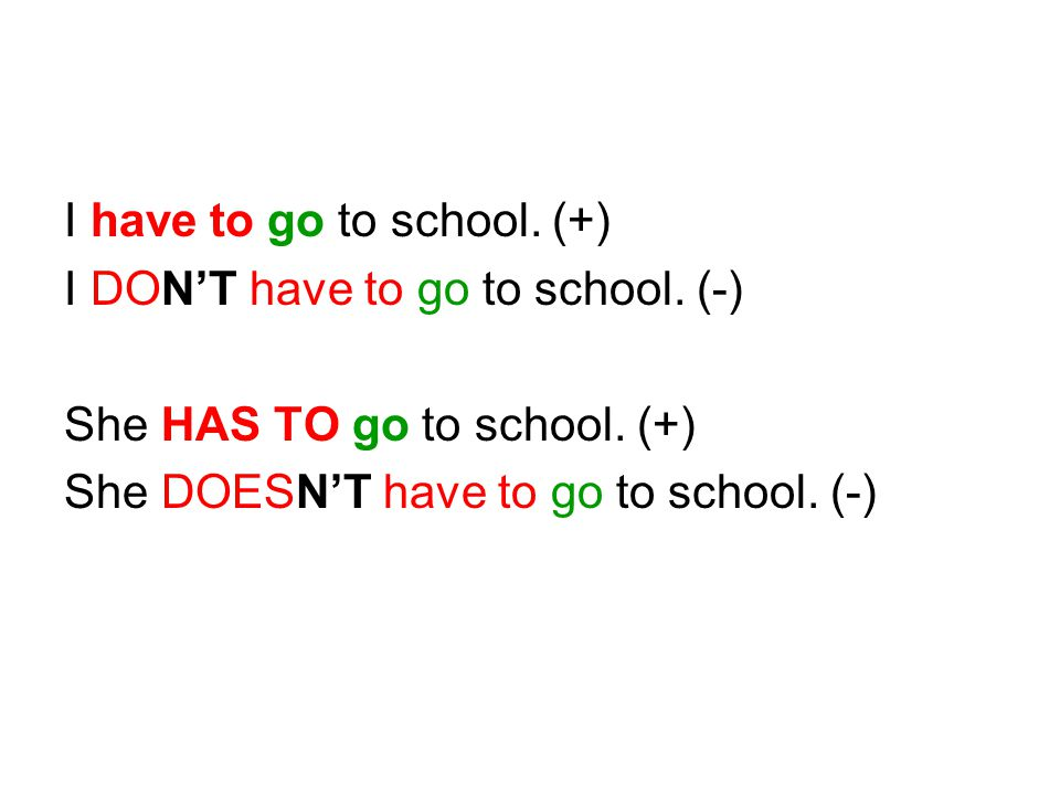 I have to go to school. (+)