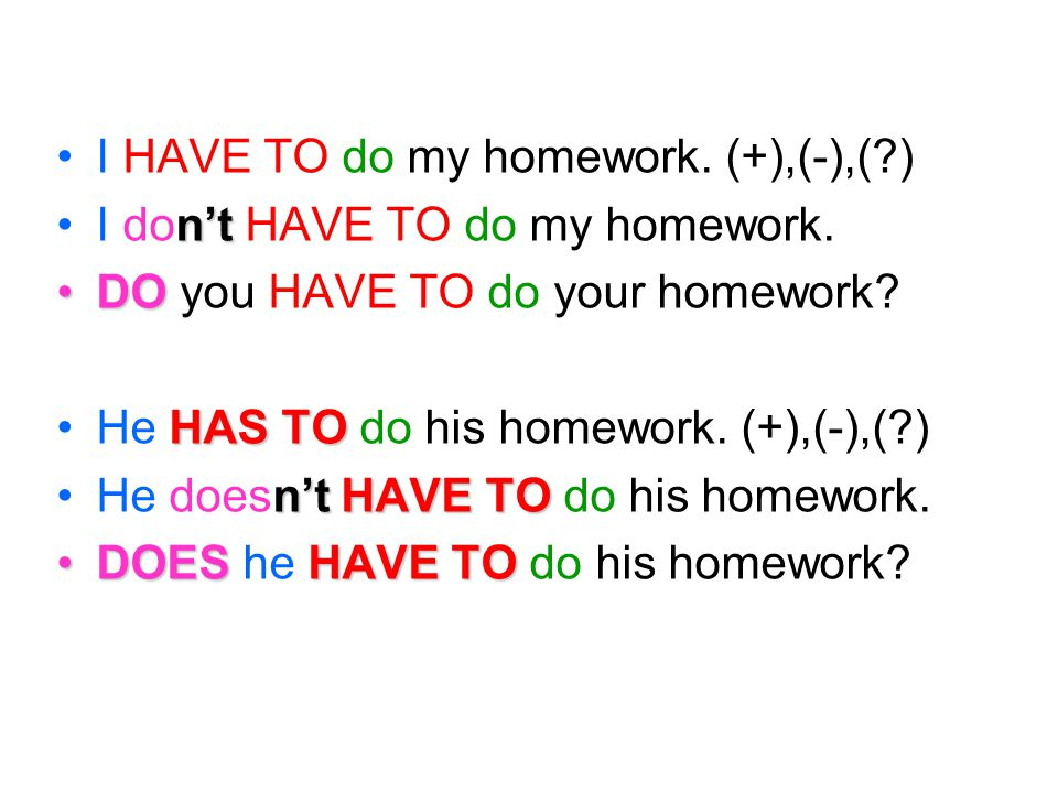 I HAVE TO do my homework. (+),(-),( )