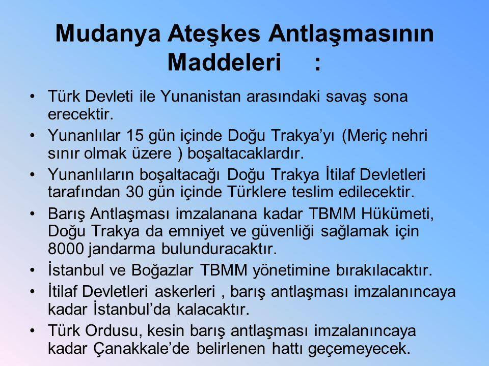 Mudanya Ateşkes Antlaşmasının Maddeleri :