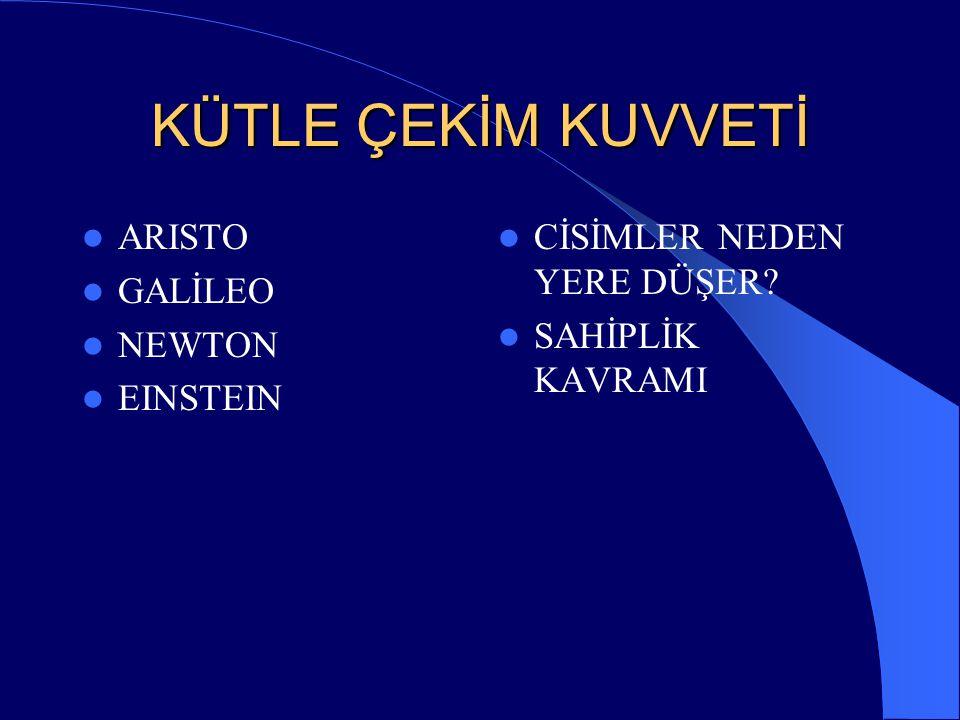 KÜTLE ÇEKİM KUVVETİ ARISTO GALİLEO NEWTON EINSTEIN