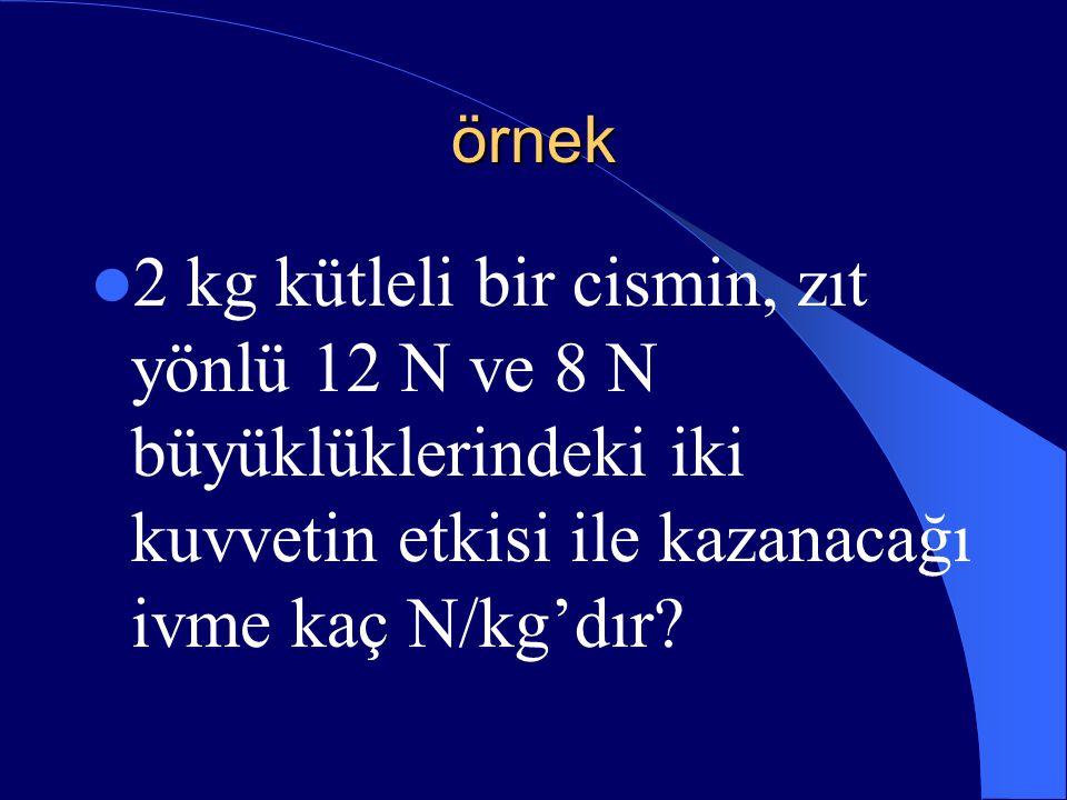 örnek 2 kg kütleli bir cismin, zıt yönlü 12 N ve 8 N büyüklüklerindeki iki kuvvetin etkisi ile kazanacağı ivme kaç N/kg'dır