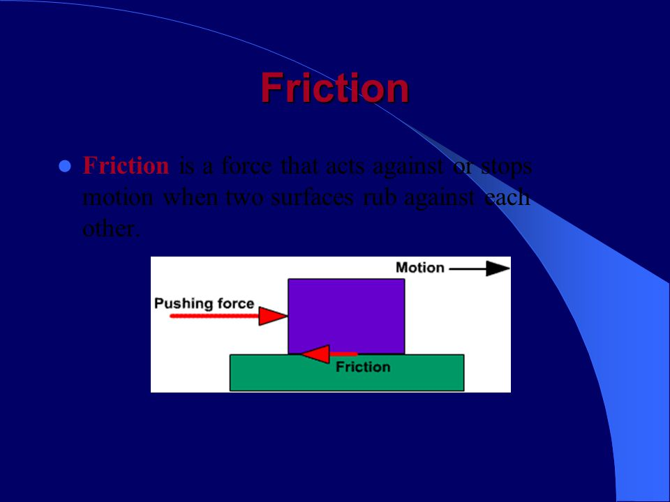 Friction Friction is a force that acts against or stops motion when two surfaces rub against each other.
