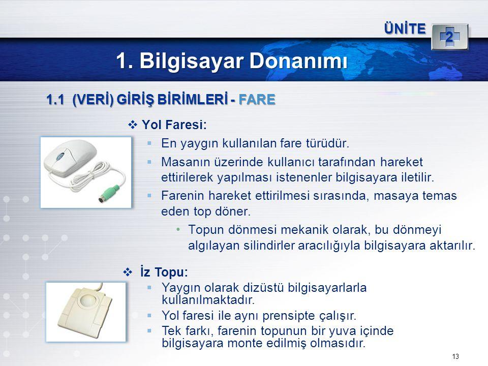 1. Bilgisayar Donanımı 2 ÜNİTE 1.1 (VERİ) GİRİŞ BİRİMLERİ - FARE
