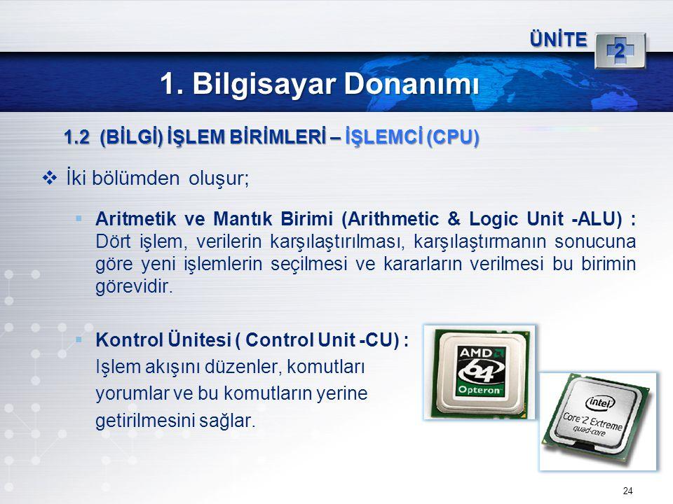 1. Bilgisayar Donanımı İki bölümden oluşur; 2 ÜNİTE