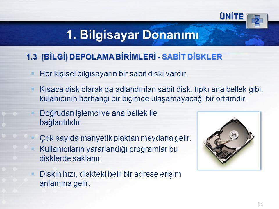 1. Bilgisayar Donanımı 2 ÜNİTE