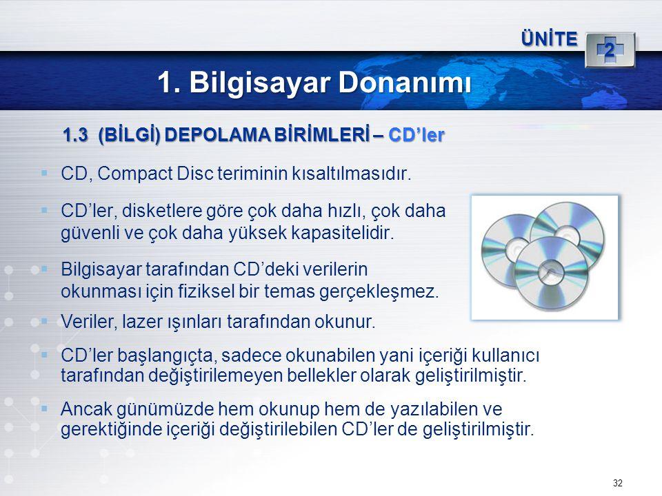 1. Bilgisayar Donanımı 2 ÜNİTE 1.3 (BİLGİ) DEPOLAMA BİRİMLERİ – CD'ler