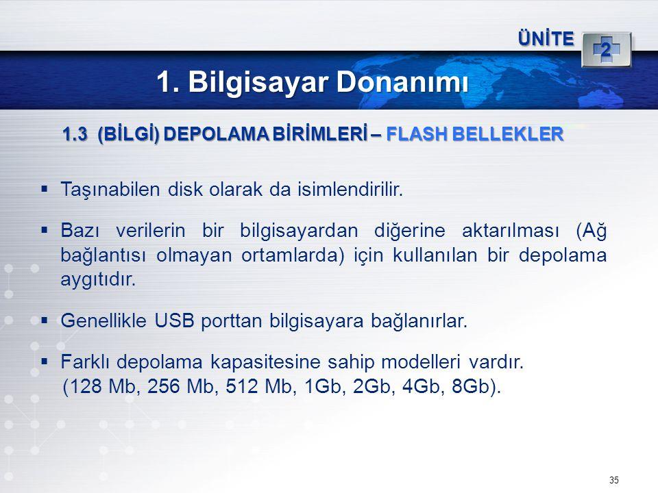 1. Bilgisayar Donanımı Taşınabilen disk olarak da isimlendirilir.