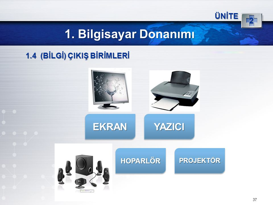 1. Bilgisayar Donanımı EKRAN YAZICI 2 ÜNİTE