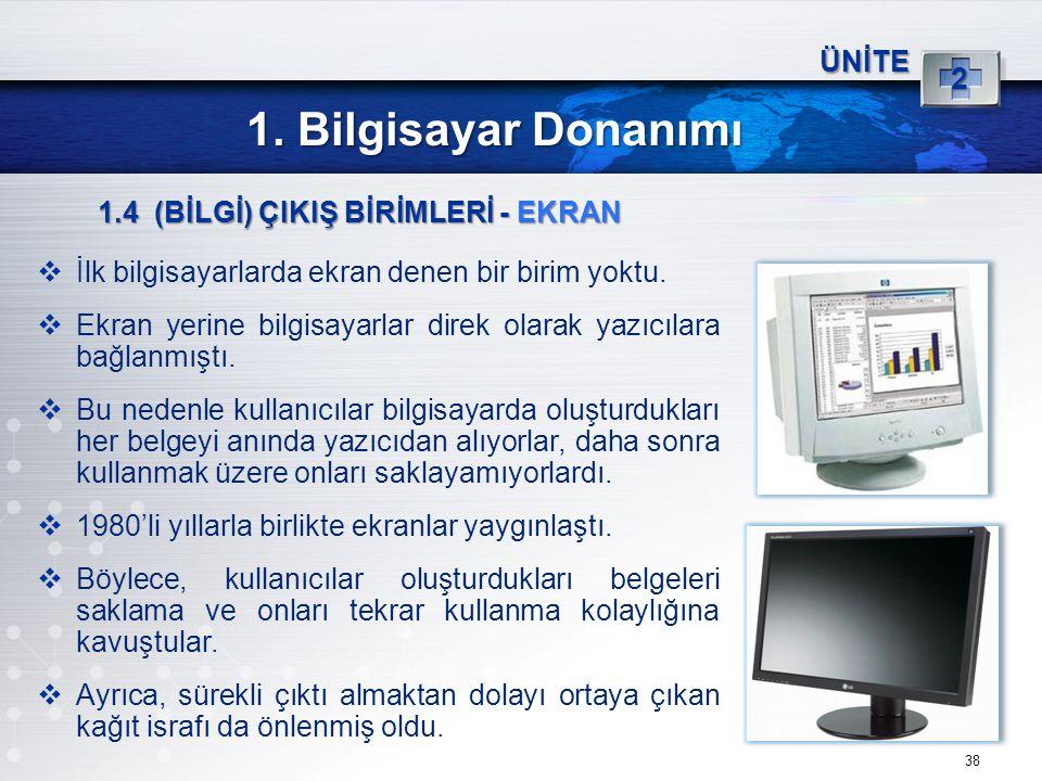 1. Bilgisayar Donanımı 2 ÜNİTE 1.4 (BİLGİ) ÇIKIŞ BİRİMLERİ - EKRAN