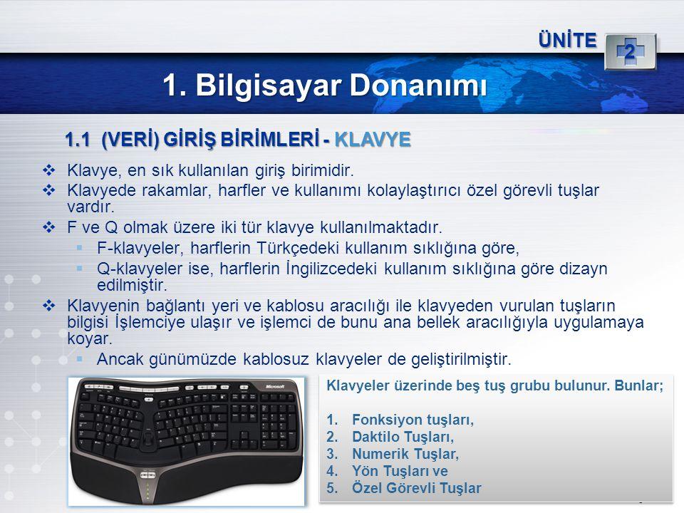 1. Bilgisayar Donanımı 2 ÜNİTE 1.1 (VERİ) GİRİŞ BİRİMLERİ - KLAVYE