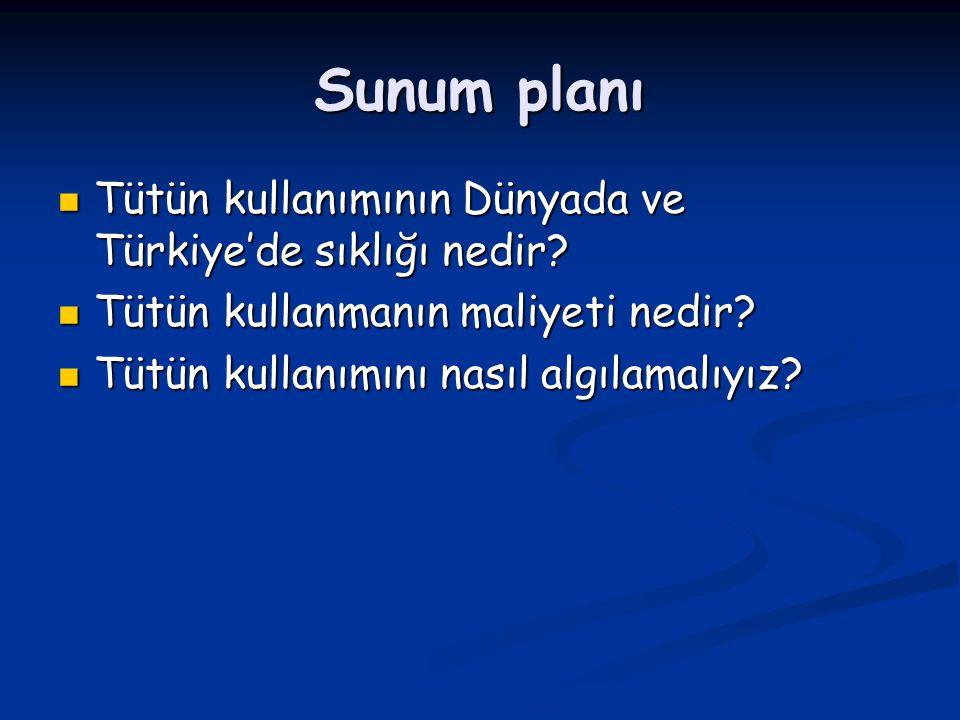 Sunum planı Tütün kullanımının Dünyada ve Türkiye'de sıklığı nedir