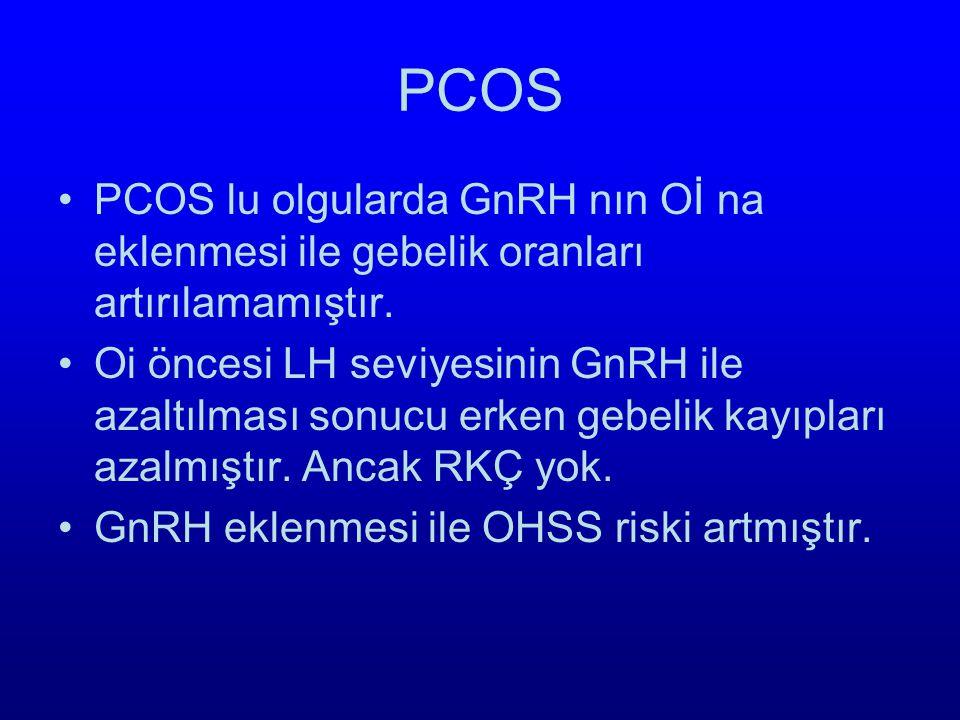 PCOS PCOS lu olgularda GnRH nın Oİ na eklenmesi ile gebelik oranları artırılamamıştır.