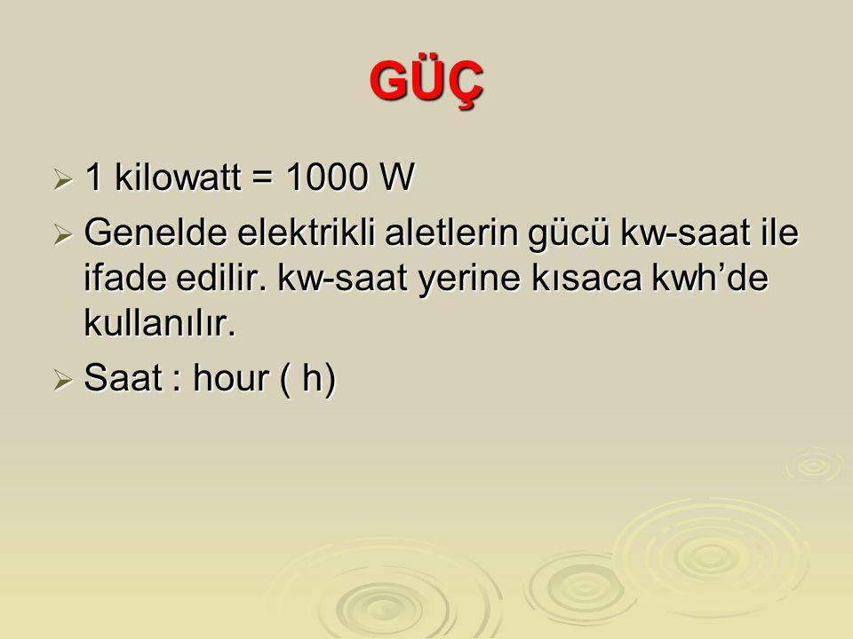 GÜÇ 1 kilowatt = 1000 W. Genelde elektrikli aletlerin gücü kw-saat ile ifade edilir. kw-saat yerine kısaca kwh'de kullanılır.