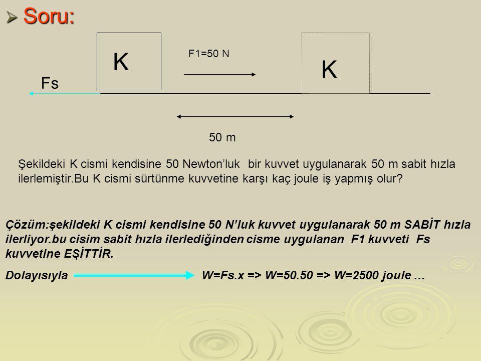 Soru: K. F1=50 N. K. Fs. 50 m.