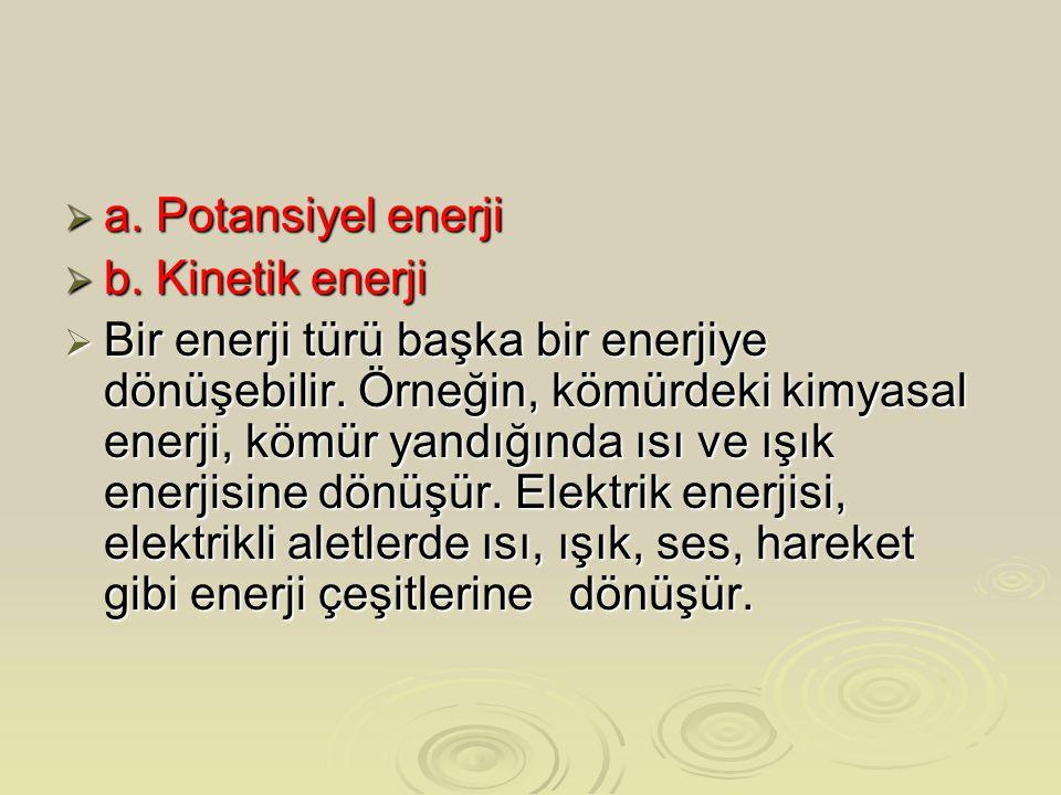 a. Potansiyel enerji b. Kinetik enerji.