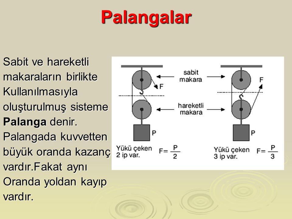 Palangalar Sabit ve hareketli makaraların birlikte Kullanılmasıyla