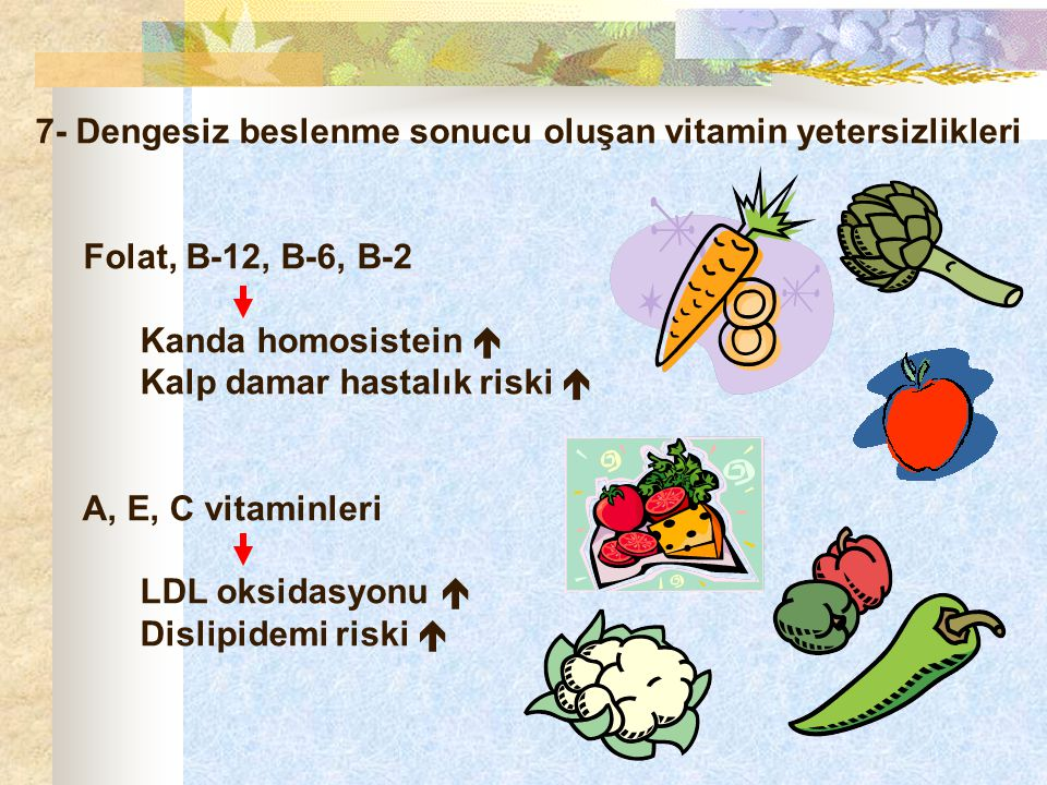 7- Dengesiz beslenme sonucu oluşan vitamin yetersizlikleri
