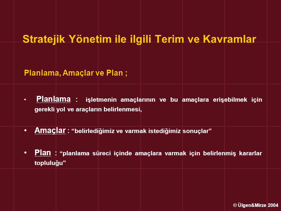 Stratejik Yönetim ile ilgili Terim ve Kavramlar