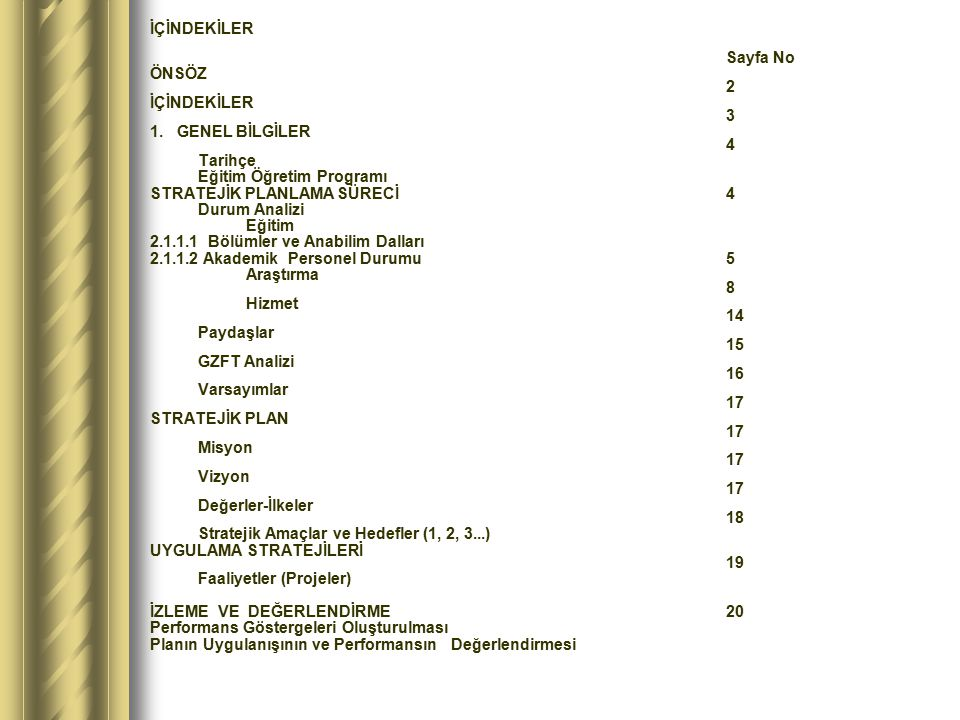 İÇİNDEKİLER Sayfa No ÖNSÖZ 2 İÇİNDEKİLER 3 1