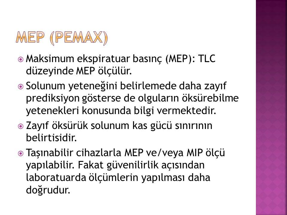 MEP (Pemax) Maksimum ekspiratuar basınç (MEP): TLC düzeyinde MEP ölçülür.