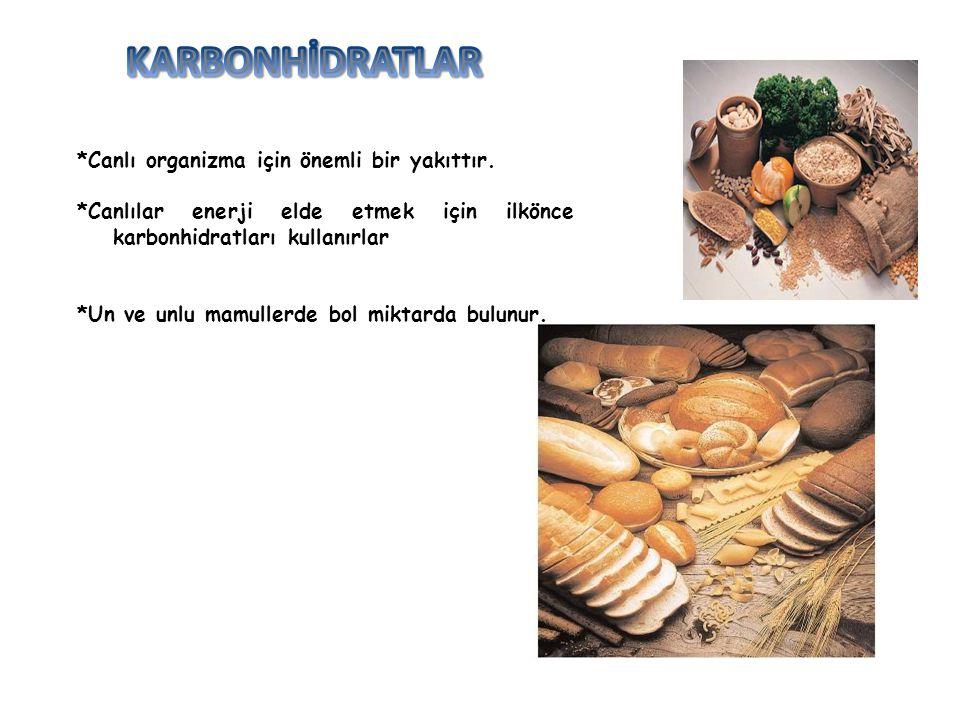 KARBONHİDRATLAR *Canlı organizma için önemli bir yakıttır.