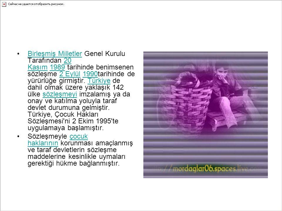 Birleşmiş Milletler Genel Kurulu Tarafından 20 Kasım 1989 tarihinde benimsenen sözleşme 2 Eylül 1990tarihinde de yürürlüğe girmiştir. Türkiye de dahil olmak üzere yaklaşık 142 ülke sözleşmeyi imzalamış ya da onay ve katılma yoluyla taraf devlet durumuna gelmiştir. Türkiye, Çocuk Hakları Sözleşmesi ni 2 Ekim 1995 te uygulamaya başlamıştır.