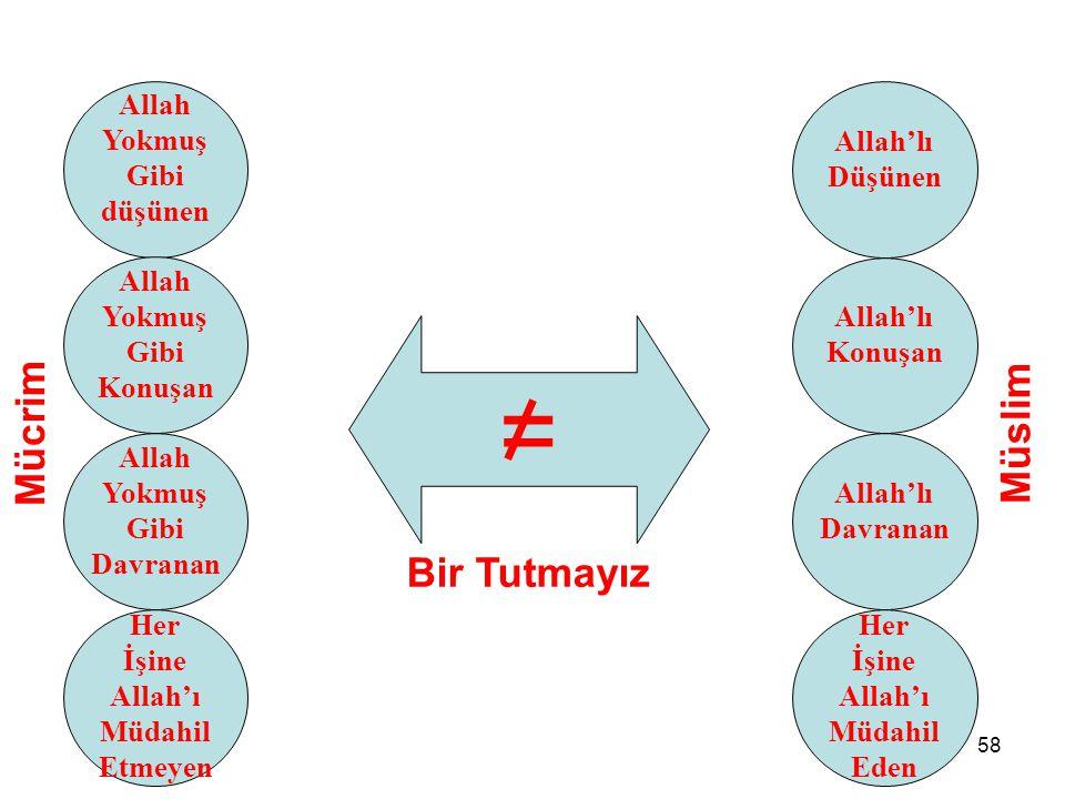 = Mücrim Müslim Bir Tutmayız Allah Yokmuş Gibi düşünen Allah'lı