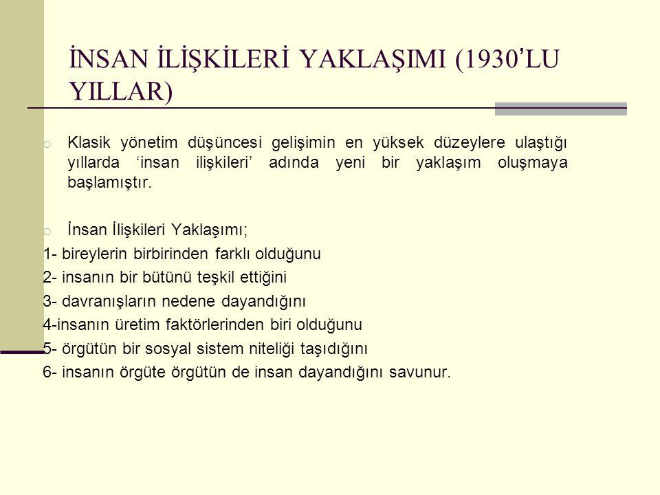 İNSAN İLİŞKİLERİ YAKLAŞIMI (1930'LU YILLAR)